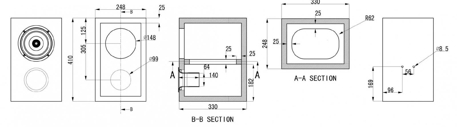 "SUG1-08 - 6.5"" Full Range Vented Bookshelf Enclosure Suggestion ..."