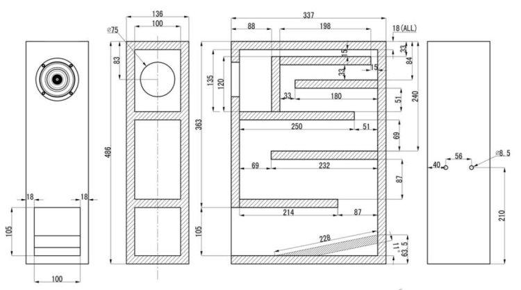 Sug1 01 3 Quot Full Range Back Horn Design Enclosure