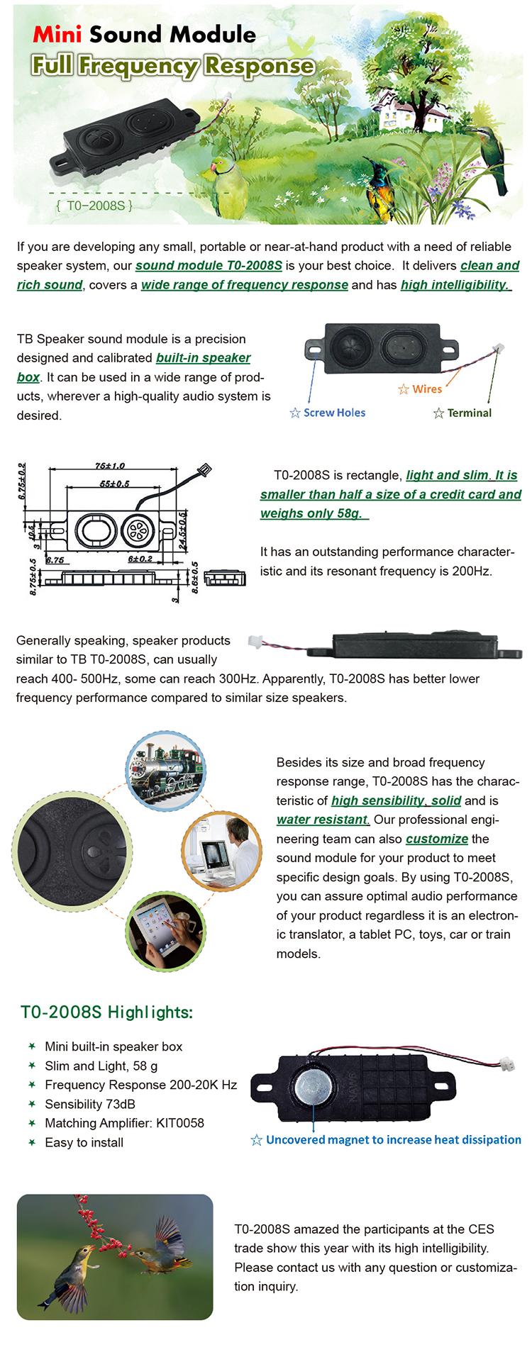 ☆ T0-2008S Super Slim Full Range Module 200-20K Hz - Latest